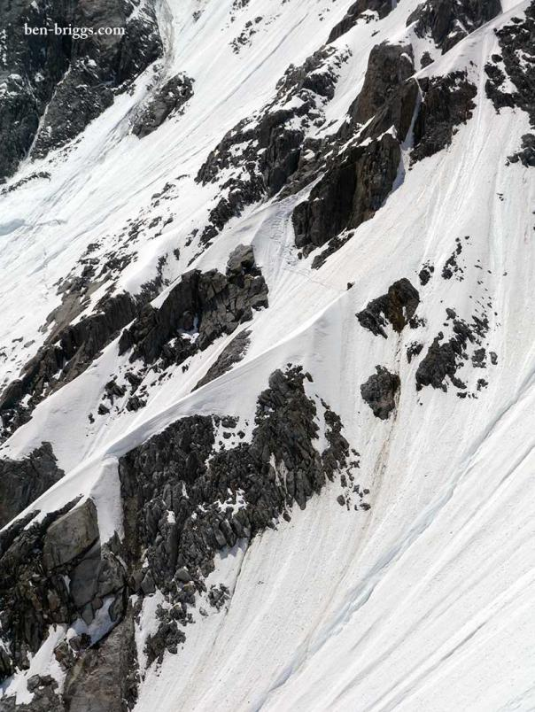 The mixed ground exiting the couloir.