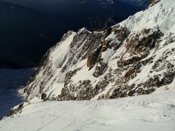 Looking across the Brenva wall to the Grand Pilier d'Angle