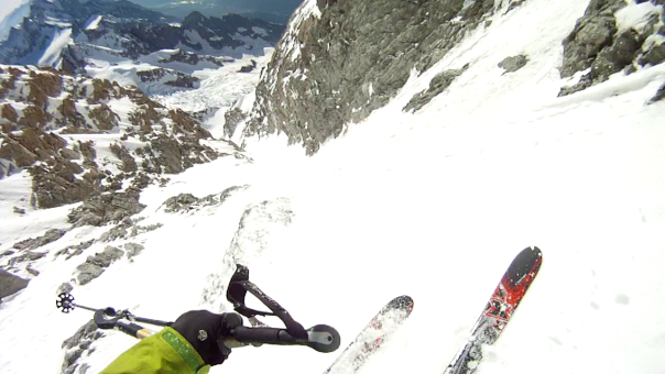 More of Ben's headcam. In the upper section of the couloir.